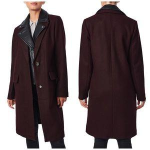 NEW Bernardo Faux Leather Layer Wool-Blend Coat XL
